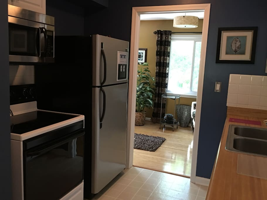 New fridge and microwave in kitchen
