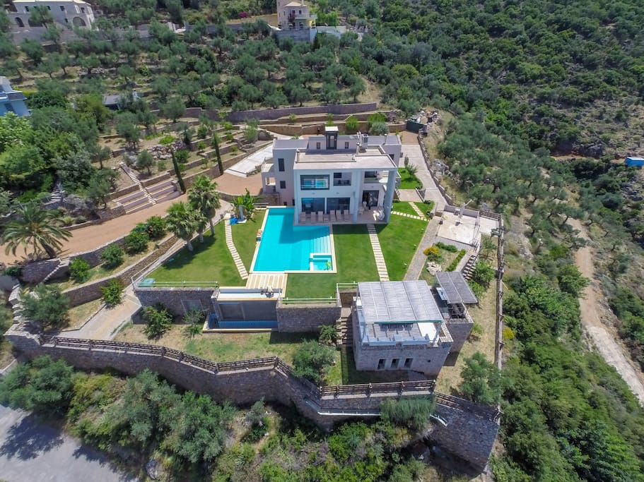 Front view of the villa from above