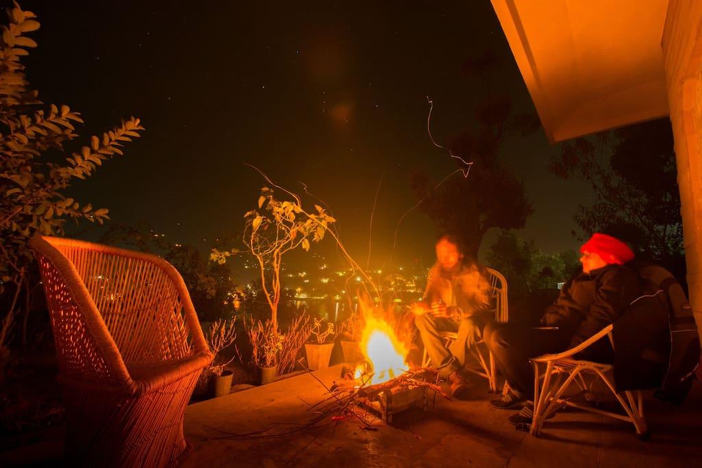 Bonfire outside the room