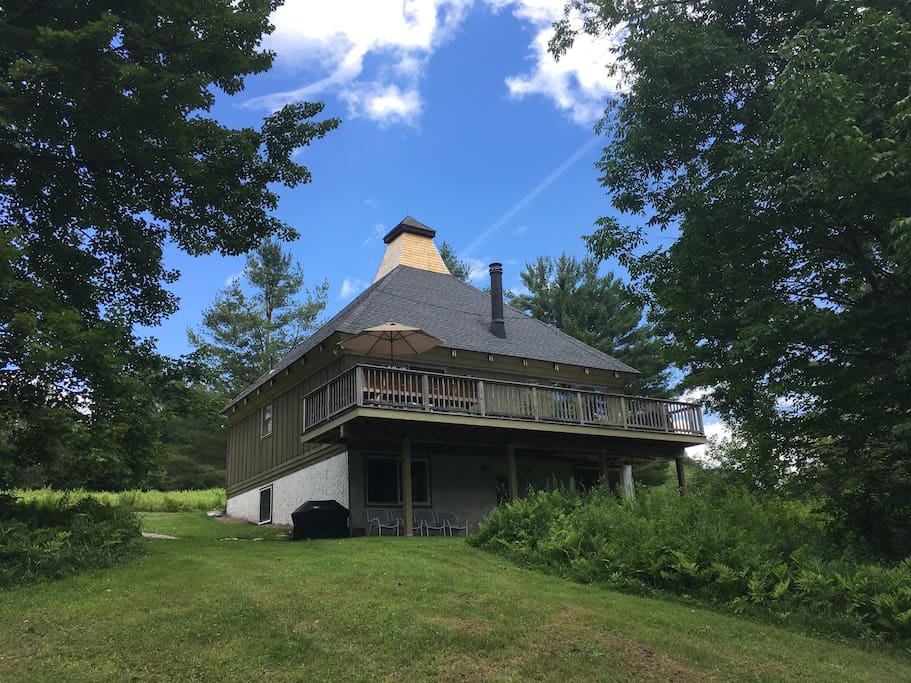 The Mountain Chalet is in a private setting on 3 sunny acres of meadow just off the mountain road.