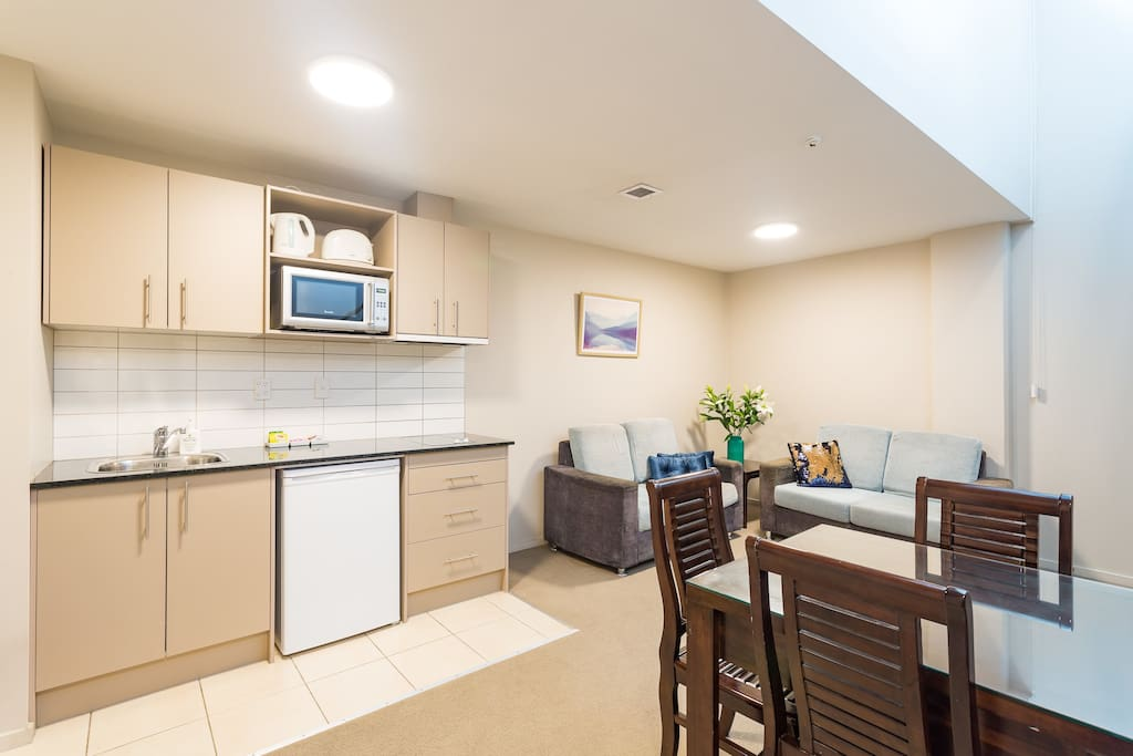 Fully equipped kitchenette, lounge and dining area