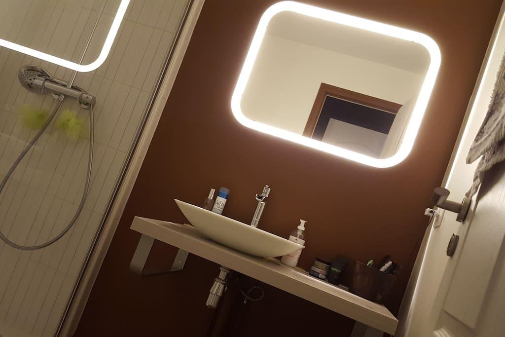 Plan de toilette avec vasque  & miroir à LED.