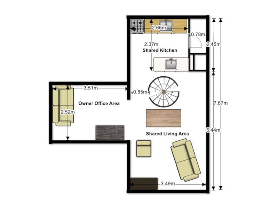 Floor plan of upstairs with shared kitchen and living area