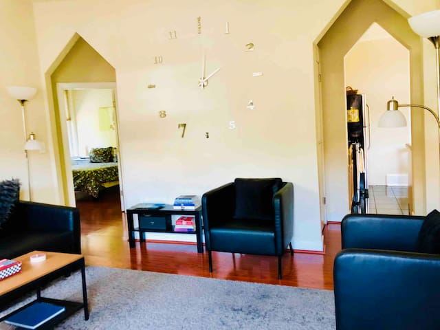 Spacious living area with WiFi, cable TV, full size sofa bed and extra closet for suitcase storage.