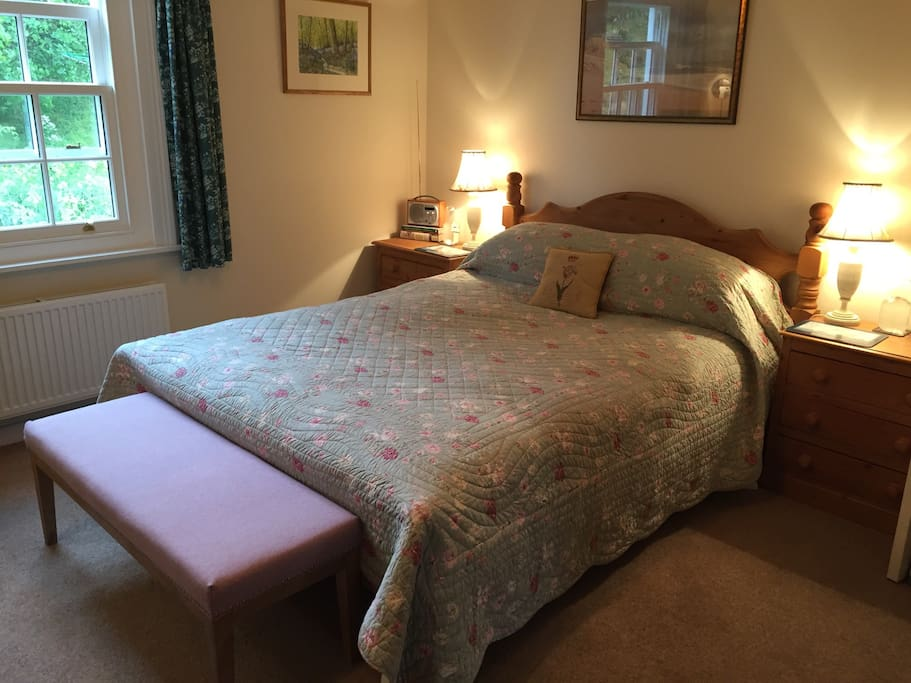 Large bedroom overlooking rear peaceful garden.