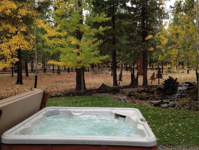 • Deep Cleaned - Enjoy this spacious 3 bedroom Sisters vacation rental on one private acre with peaceful backyard featuring a private hot tub and beautiful water feature.