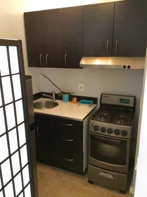 Brand new stainless steel kitchen.