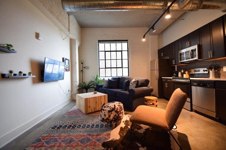 Stylish Industrial Loft | KING BED | Desk/Work Area