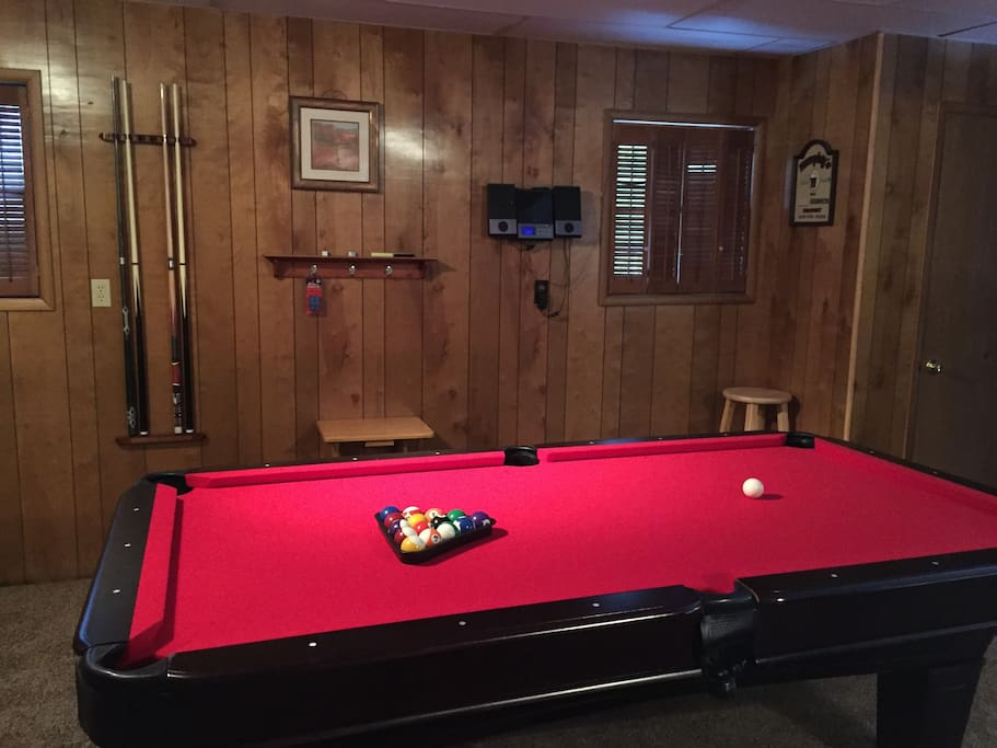 Game Room with Pool Table on Lower Level