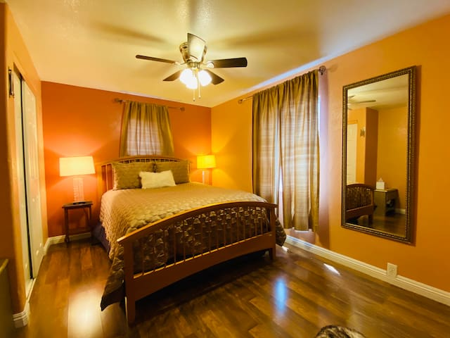 Bedroom number two has one queen size bed and in attached private bathroom