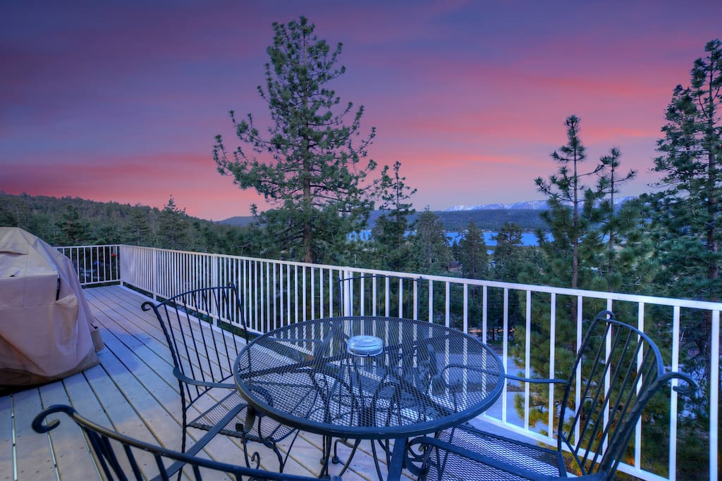 Deck overlooking Big Bear Lake and Ski Slope