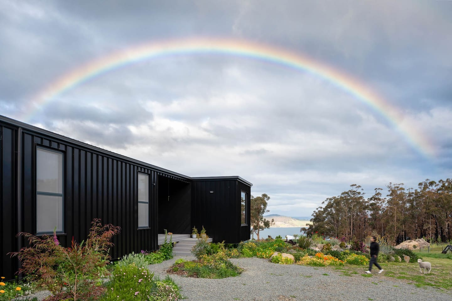 Hello from the island of rainbows! Our house is divided into 2 sections: this is the main house where we live overlooking the D'Entrecasteaux Channel in the Southern Trove.
