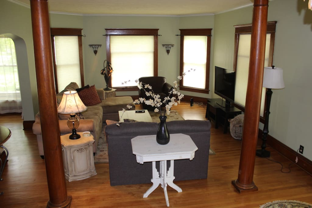 Beautiful Living Room and excellent gathering spot with large Sony Bravia TV and FIOS cable/internet.