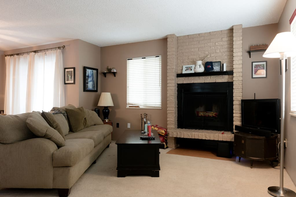 Warm, friendly, comfortable living space to share. Complete with fireplace.