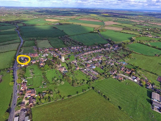 Aerial view of the village - house circled