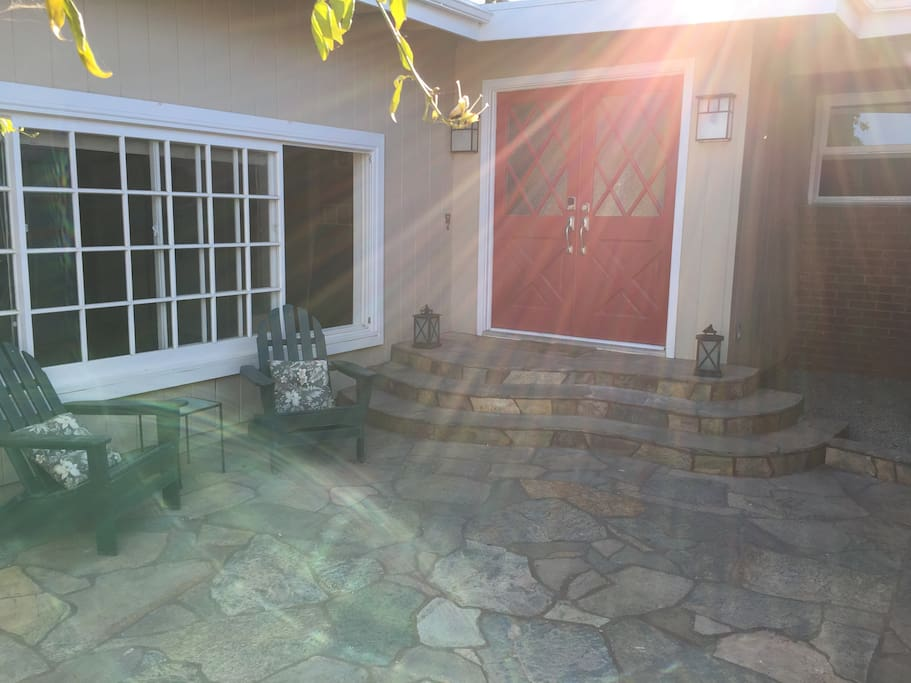 Quiet, front patio to relax and enjoy a drink