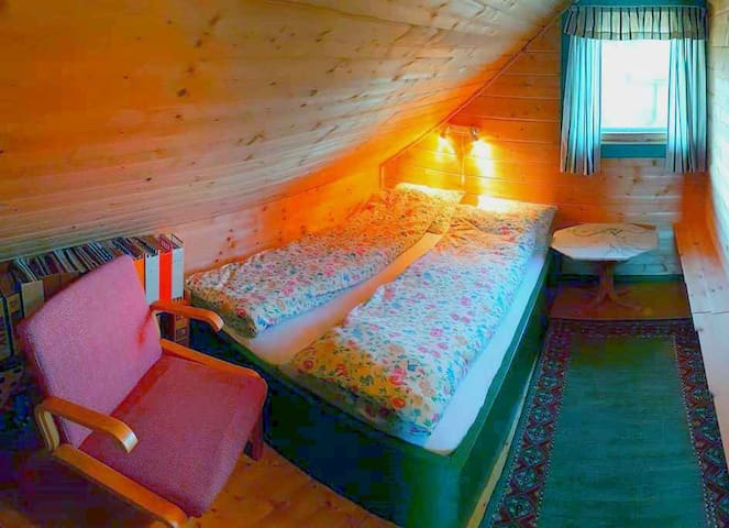 """Bedroom 2 and """"library"""", with double bed (150cm). Quality mattresses."""