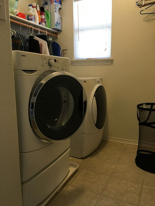 Here is our laundry room, complete with iron and ironing board (not shown).