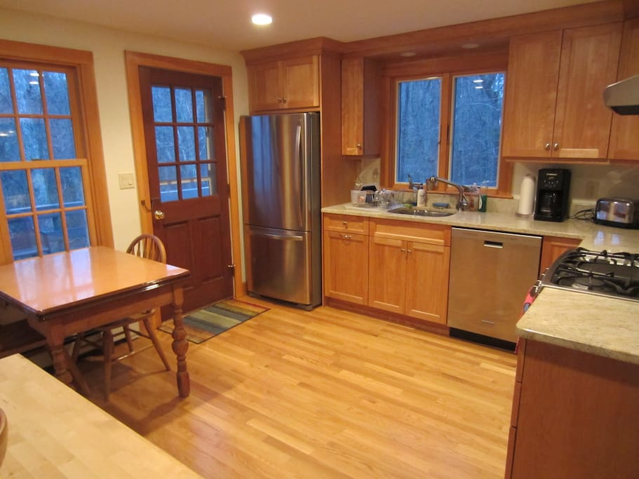 Granite counter kitchen overlooking the woods