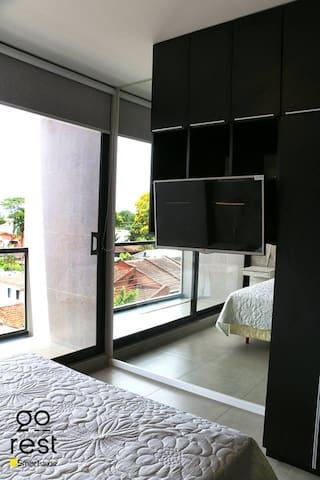 beautiful from the private balcony from the bedroom, full body mirror (private studio)