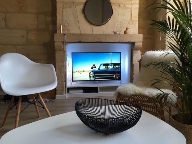 Séjour avec télévision ambilight