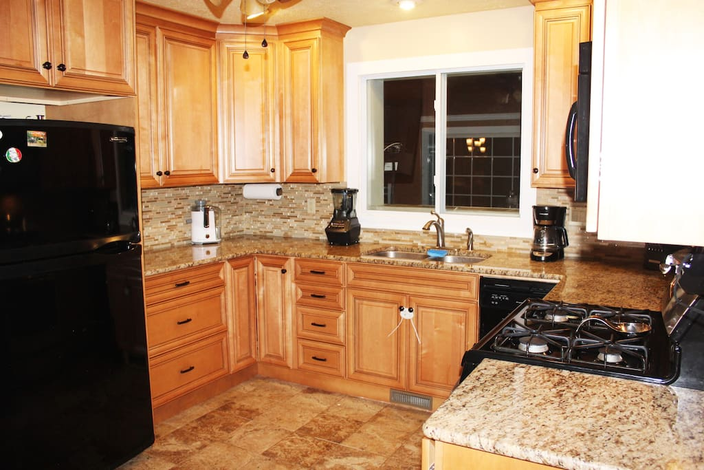 New Granite counters, and custom cabinetry, Gas Range