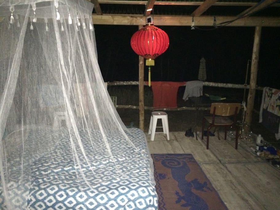 Sleeping outside on the terrace.