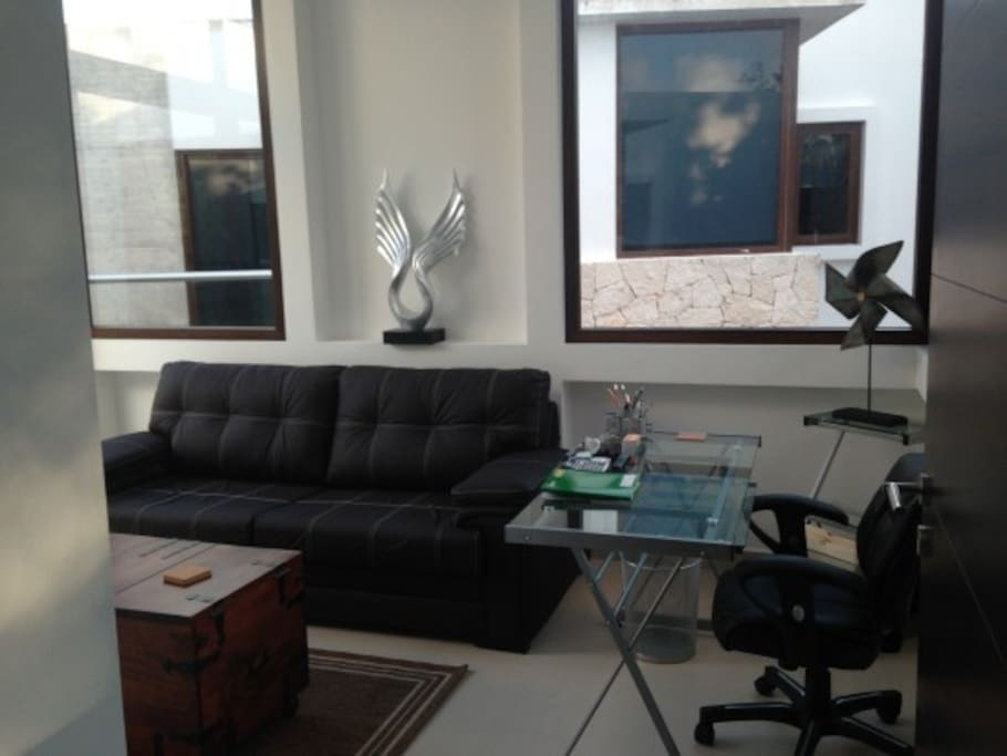 Office with double sofabed, jungle view, and access to 2nd floor sun terrace