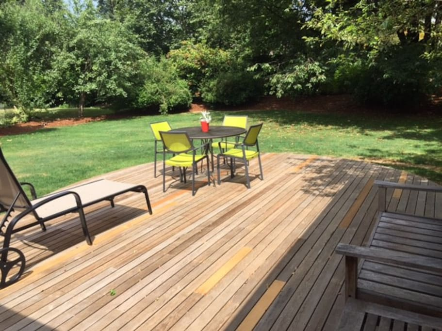 Backyard deck with table, chairs, large 11ft market umbrella (not shown in photo) and 2 lounge chairs.  Semi-pro gas BBQ at the end of the deck on right side of photo. Behind the backyard there is a retention pond with ducks, geese, rabbits and squirrels that come through our yard!