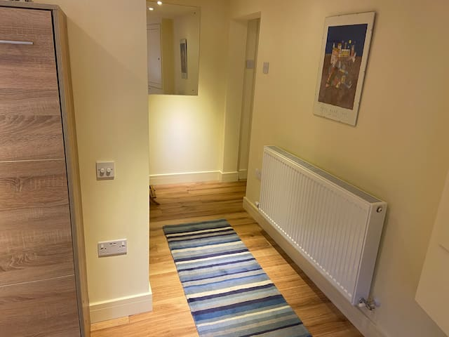 Looking back to the flat entrance