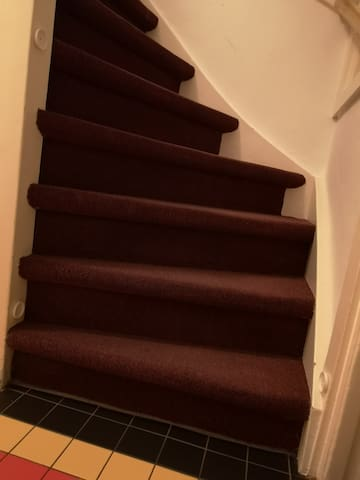 There are two staircases to your floor