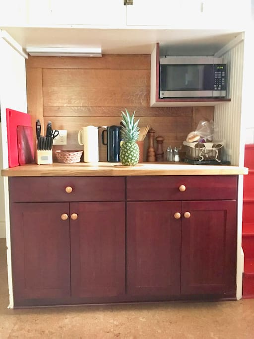 Butcher block counter on customer cabinets