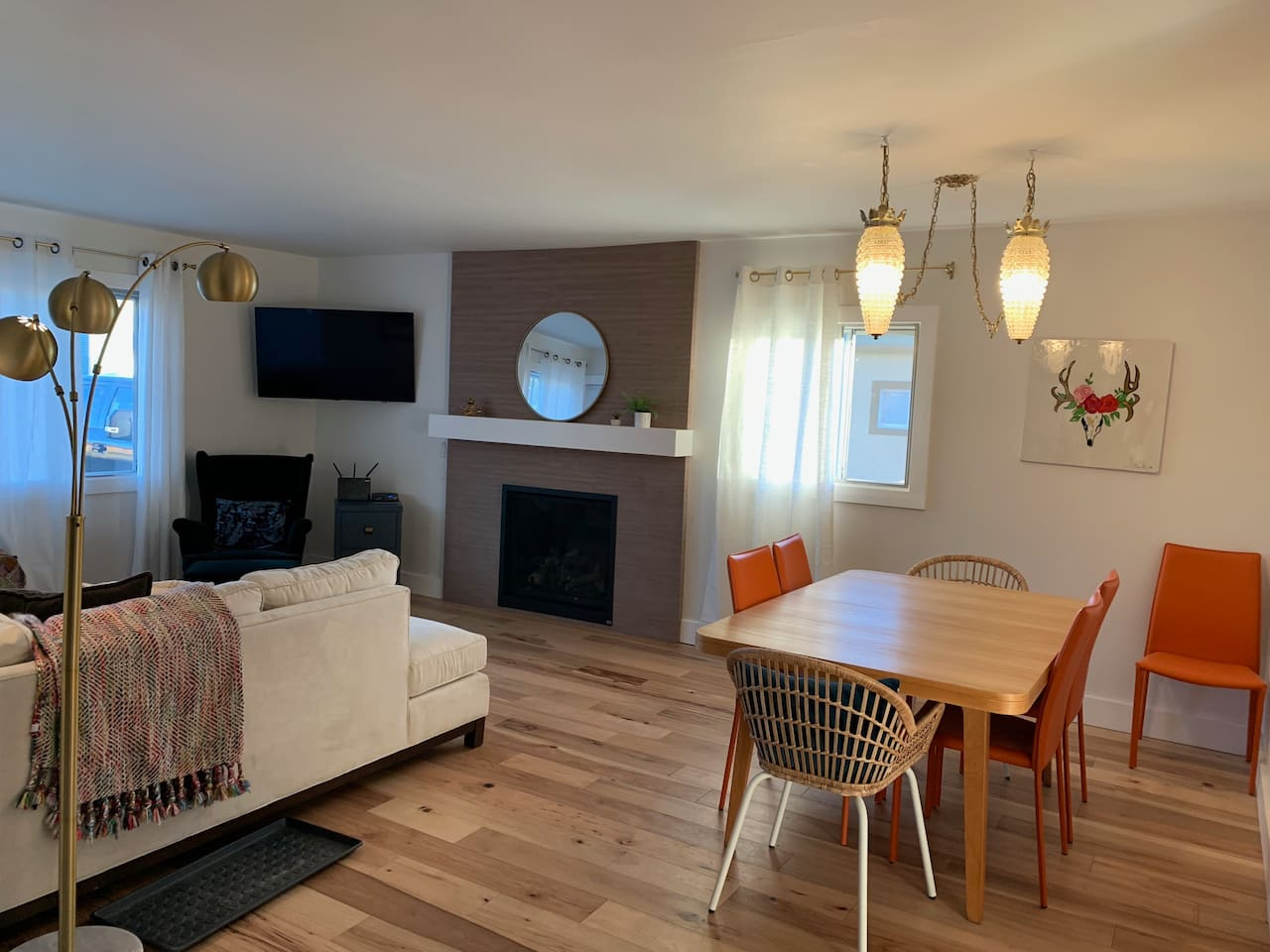 Living/Dining with gas fireplace and tv