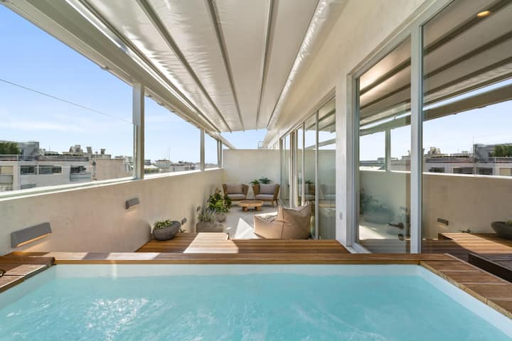 Private heated pool penthouse 1' walk to Acropolis