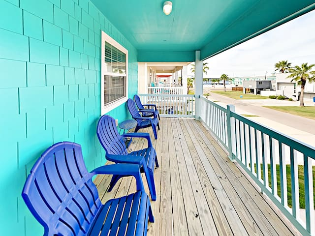 Sip lemonade on the front deck, furnished with 4 Adirondack chairs.