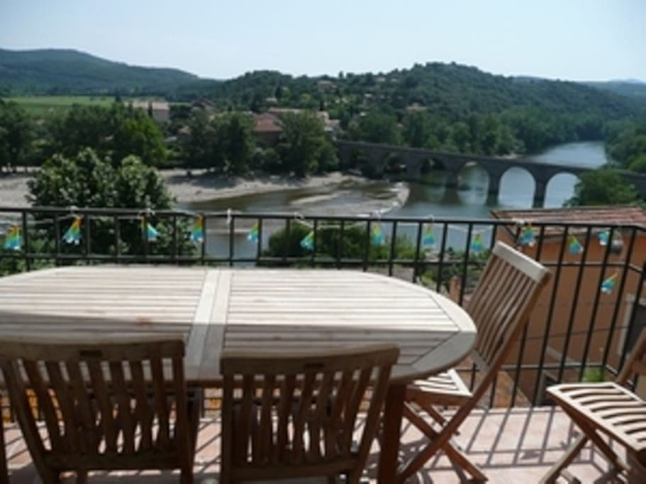 Breakfast Terrace with Orb river and Pyrenees beyond.