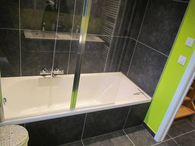 ruime badkamer met ligbad + douchestang en glazen wand , toilet + 2 lavabo's met kast