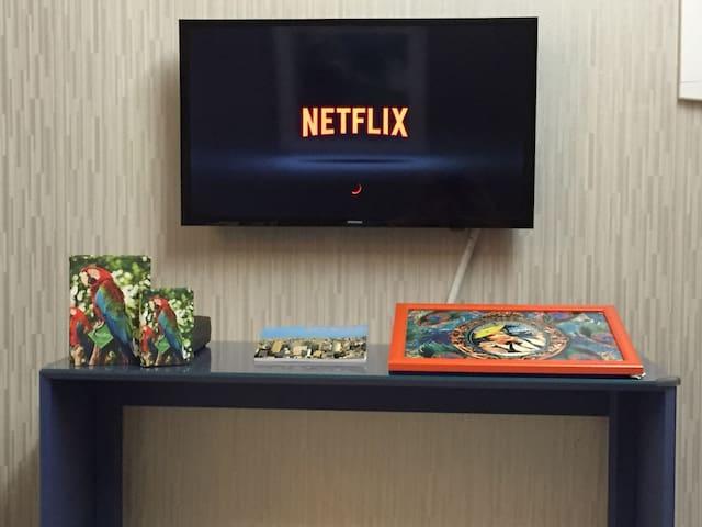 Smart TV: canais abertos (open channels), Netflix, Google, Youtube, Facebook, Vevo, etc
