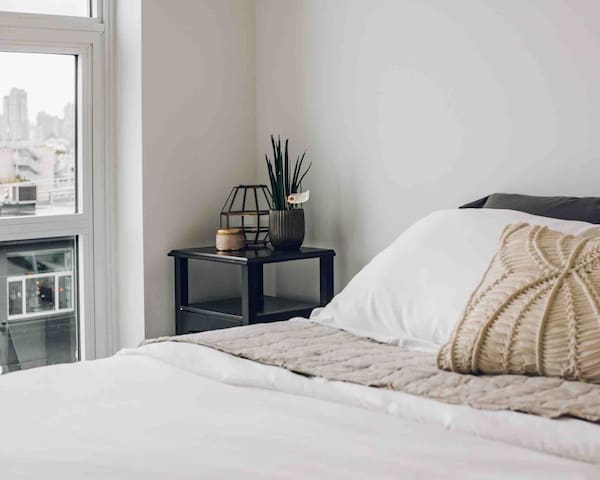 Small touches to make guests feel welcome in the bedroom.