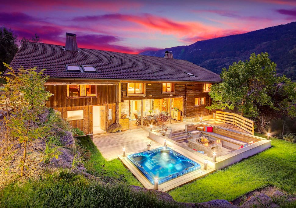Chalet 5 toiles piscine int rieure sauna jacuzzi wifi ovo network chalets louer - Airbnb piscine interieure ...