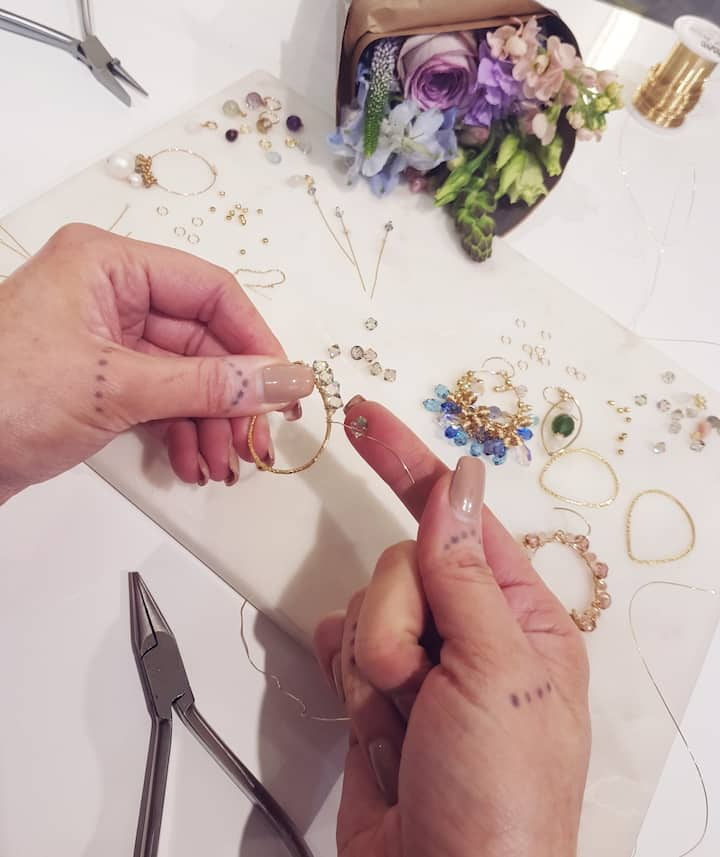 Hand Beading our Marquise Drops