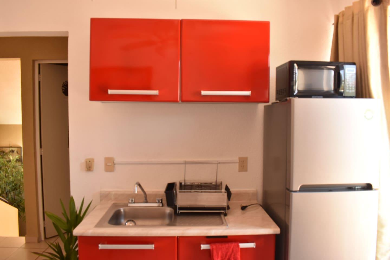 Zinc, alacena, microondas y refrigerador