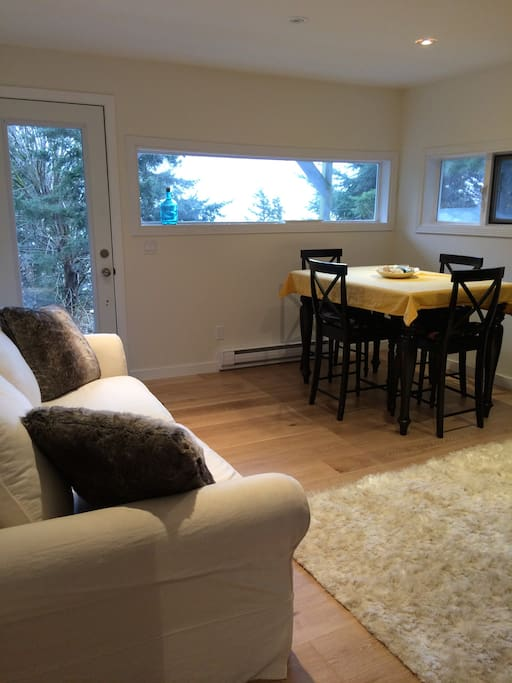 The living/kitchen/master has an ocean view and patio access and the table seats up to 8 with a leaf in it, cozy rug
