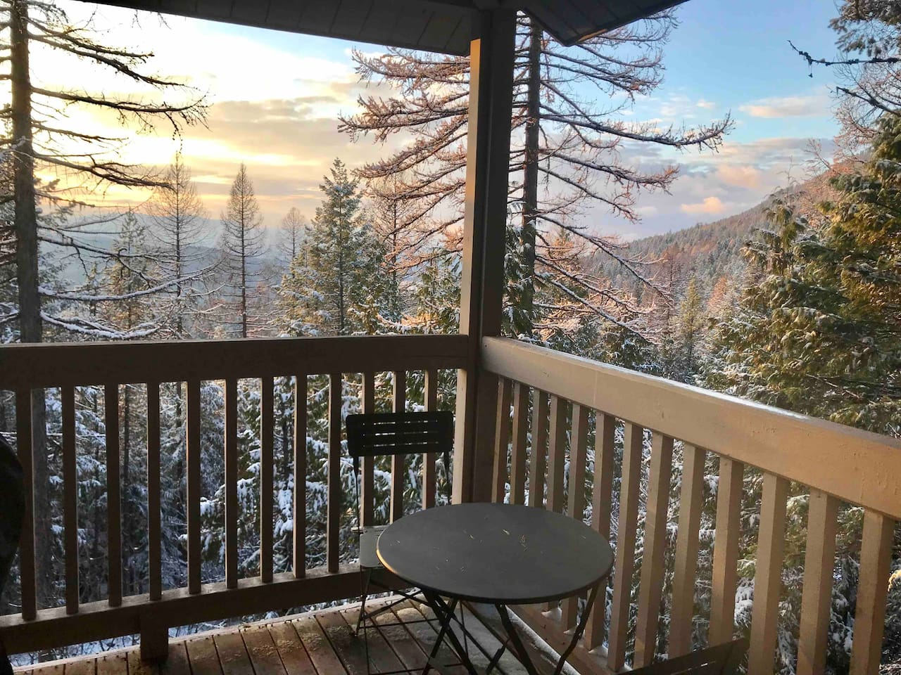 Small, shared deck with a beautiful view of the area.