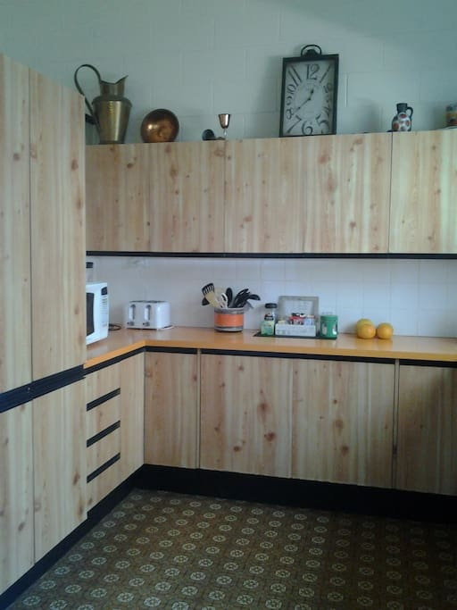 Fully equipped kitchen available to guests.