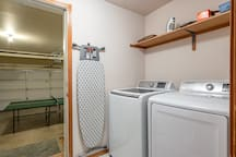 Laundry Room, Iron, and Ironing Table with access to Garage