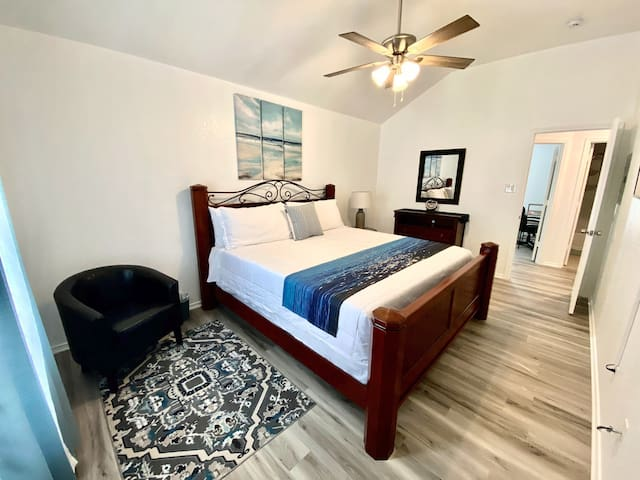 """Master Bedroom with King size bed and 40"""" ROKU TV and small closet."""