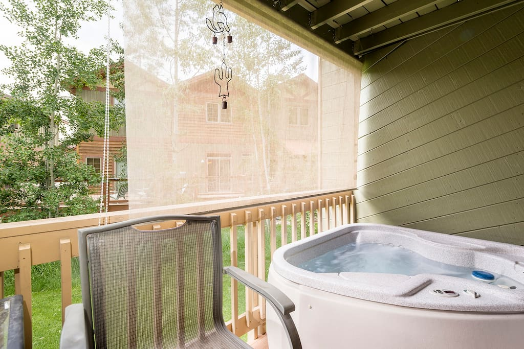 Soak in the hot tub right outside