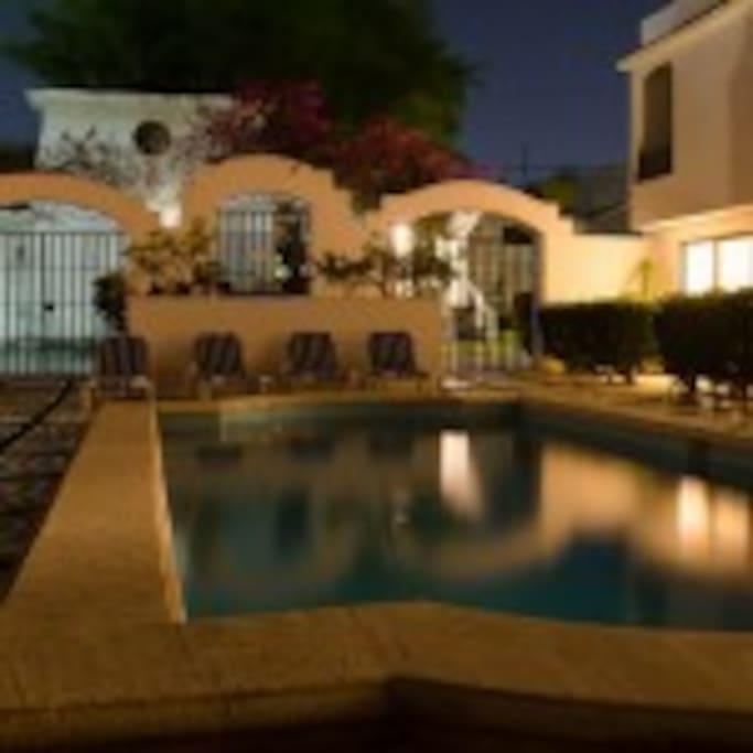 Pool at Casa Martillo at night