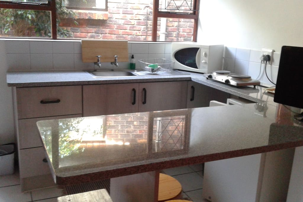 the kitchen of the gardenflat